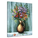 Kunstdruck - Bergblumenstrauß - Bild auf Leinwand 60 x 80 cm einteilig - Leinwandbilder - Bilder als Leinwanddruck - Pflanzen & Blumen - Malerei - Strauß Blumen in Einer Vase