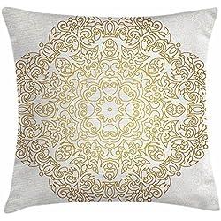 DIYCCY - Funda de cojín con diseño de mandala dorada, diseño tradicional, decoración de fondo espiral, estilo victoriano barroco marroquí, decorativa, cuadrada, 45,7 x 45,7 cm