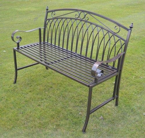 Olive Grove 2-Sitzer Klappbank aus Metall im 'Versailles' Stil - antik-bronze