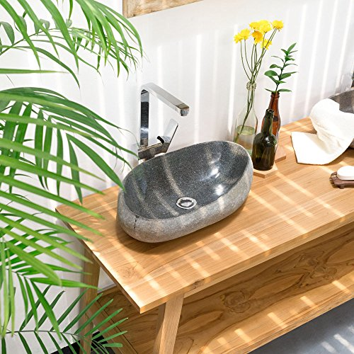 wohnfreuden 40-50 cm Naturstein Waschbecken Steinwaschbecken mit Naturkante Oval einzeln fotografierte Unikate aus der Bildergalerie wählbar | Naturstein-Aufsatzwaschbecken für Bad und WC