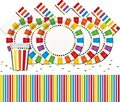 Idea Regalo - Unique Party bpwfa-93 Rainbow party set da tavola per 24 persone