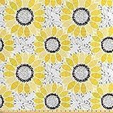 ABAKUHAUS Gelb Satin Stoff als Meterware, Sonnenblume Natur