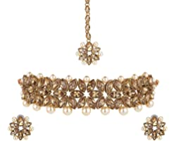 Yellow Chimes Ethnic Gold Plated Studded Kundan Beads Design Jewellery Set Traditional Choker Necklace Set with Earrings and