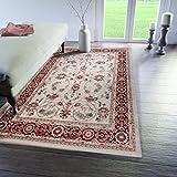 Traditioneller Klassischer Teppich für Ihre Wohnzimmer - Weinrot Beige - Perser Orientalisches Antik Ziegler Ornamente Top Qualität Pflegeleicht