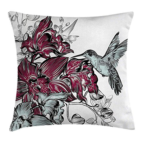 Nature Throw Pillow Cushion Cover, Flourishing Orchid Flowers Bouquet and A Hummingbird Hand Drawn Artwork Design, Decorative Square Accent Pillow Case, 18 X 18 Inches, Burgundy Black - Orchid Bouquet Bekleidung