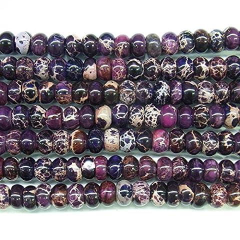 thetastejewelry 12mm Rondelle Violett Sea Sediment Jasper Perlen 38,1cm 38cm Halskette Heilung Schmuck herstellen–4555