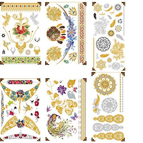 Tatuaggi premium henna metallici - 75+ disegni in oro e argento - temporary fake shimmer jewelry tattoo - bracciali, bracci e bracci
