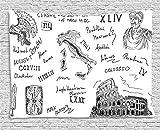 xhfitcltd Toga Party Wandteppich, Alten römischen Zeitraum Ikonen Caesar Colosseum Gladiator Helm Sketch Art zum Aufhängen, für Schlafzimmer Wohnzimmer Wohnheim, 60W x 40L Zoll, Schwarz und Weiß 80