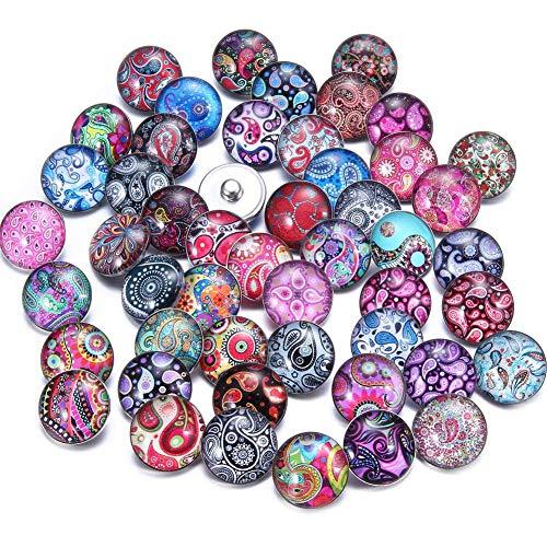 Soleebee 50 Stück Gemischt zufällig Glas Aluminium Click Button fit 5.5mm-Knopfloch Schmuck Charms (Cashew-Blume) Aluminium-gläser