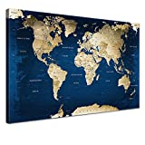 """LANA KK - Weltkarte Leinwandbild mit Korkrückwand zum pinnen der Reiseziele – """"Weltkarte Ocean"""" - deutsch - Kunstdruck-Pinnwand Globus in blau, einteilig & fertig gerahmt in 100x70cm"""