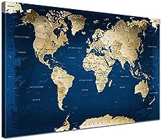 LanaKK - Weltkarte Ocean mit Kork Rückwand - edel Leinwand Bild Kunstdruck auf Keilrahmen, Pinnwand für Weltenbummler 100 x 70 cm, einteilig