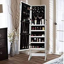 LIFE CARVER Jewellery Cabinet Armoire Dressing Mirror Lockable Full Length Wardrobe Jewellery Accessories Organiser White Free Standing Cabinet (no drawer)