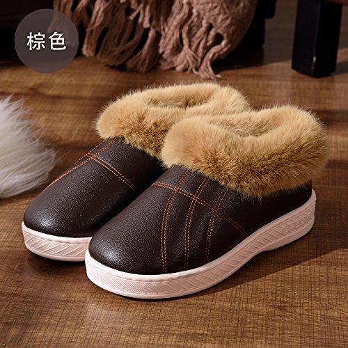 DogHaccd pantofole,Inverno alta aiutare caldo cotone pantofole pacchetto con un paio di uomini e donne home interno più spessa di velluto pu in pelle liscia impermeabile scarpe di cotone Brown3