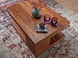 Wohnling Couchtisch Massiv-Holz Sheesham 90 cm breit Wohnzimmer-Tisch Design Landhaus-Stil Beistelltisch Natur-Produkt Wohnzimmermöbel Unikat modern Massivholzmöbel Echtholz rechteckig dunkel-braun - 4