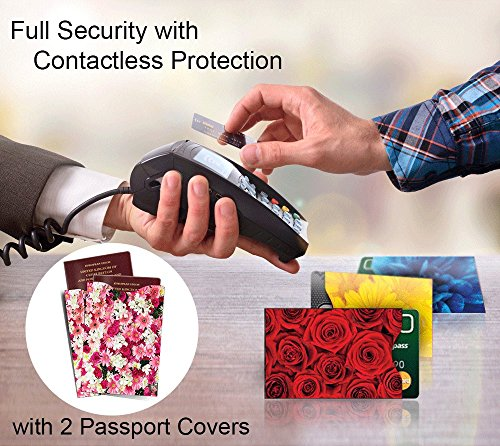 [12-Packung] RFID Blocking Hüllen - Designer Set, für Kreditkarte & ID Schützhüllen, ideal für im Portemonnaie / Passschutzhülle - Voller Schutz RFID & NFC - Wunderschöne Blumen - Bild 6