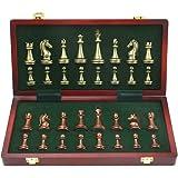 Stor metall lyxigt schack retro kopparpläterad legering schack vuxen set brädspel bärbar trälåda förvaring fällbart schackset