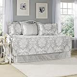 Laura Ashley 5-Piece Venetia Daybed Cover Set, Gray