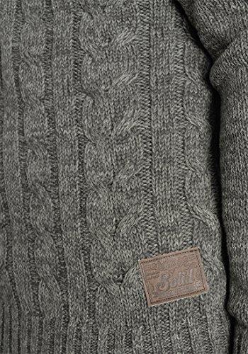 SOLID Pankraz Herren Strickpullover Grobstrick Pulli Troyer mit Stehkragen aus 100% Baumwolle Meliert Dark Grey (2890)