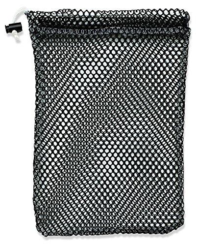 Mesh-kordelzug-verschluss (Mesh Stuff Bag-Strapazierfähiges Mesh Tasche mit Schloss Kordelzug Schiebetür Verschluss. Ideal zum Waschen Feinwäsche, Wasch-Beach Toys, Seashell sammeln oder Scout Mess Staubbeutel., schwarz)