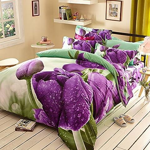 Algod¨®n flor de actividad cuatro piezas hojas s¨¢banas de algod¨®n boda cama, juego de 4 , 5 , standard (1.8 m bed)