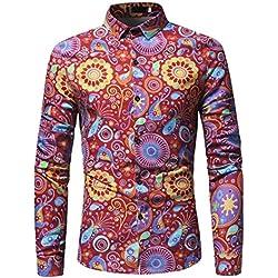 LMMVP Camisa de Hombre Moda Personalidad Floral Retro Impreso Manga Larga Negocio Ajustado Negocio Botón Formal Autocultivo Casual Camiseta para Hombre Blusa Tops (M, Rojo)