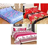 Urban Home Combo Floral King Size Double Bedsheet, Set Of 3 Bedsheets And 2 Pillow Covers Each