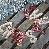 Guirlande de Noël au look campagnard vintage avec inscription CHRISTMAS Rouge/blanc