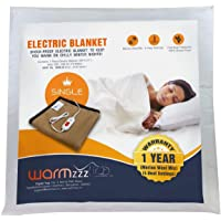 Warmzzz Wool Electric Blanket for Single Bed. Shock-Proof Blanket Heater with 4 Heat Settings - Camel