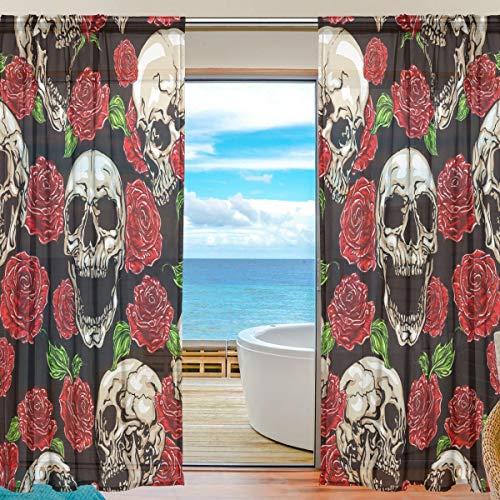 BIGJOKE Vorhang für Fenster, transparent, Halloween, Totenkopf, Rose, Küche, Wohnzimmer, Schlafzimmer, Büro, Voile, 2 Stück, Multi, 55x84 inches