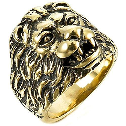 Adisaer Edelstahl Ringe Herren Vintage Gold Schwarz Lion Head Form Punk Retro Größe 57(18.1) Herren-lion-ringe Aus Edelstahl