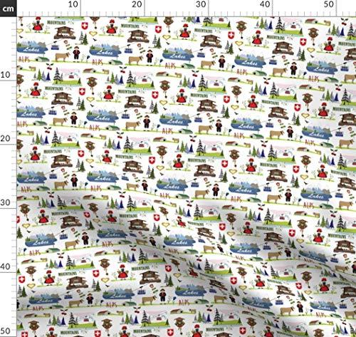 Alphütte, Schweizerisch, Alpen, Kuckucksuhr, Schweiz Stoffe - Individuell Bedruckt von Spoonflower - Design von Peppermintpatty Gedruckt auf Baumwollstoff Klassik