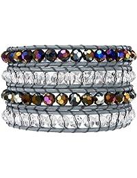 Rafaela Donata - Bracelet en cuir véritable - Cuir véritable acier inoxydable cristal de verre, bracelet cristal de verre, collier en cuir véritable, bijoux en cuir - 60291043