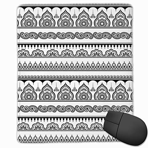 Mouse Mat Stitched Edges, Eastern Tattoo Design With Various Ornamental And Geometric Shapes Monochrome Style,Gaming Mouse Pad Non-Slip Rubber Base