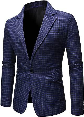 YOUTHUP Mens Check Blazer Slim Fit Plaid Suit Jacket 1 Button Classic Business Dress Jackets