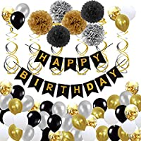 WM Birthday Decorations,Black and Gold Party Decorations with Happy Birthday Banner