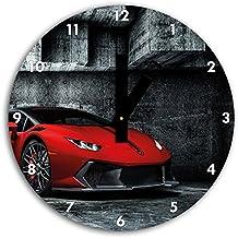 foto huracan lamborghini en el reloj de pared con negro blunt las manos y la cara, de 30 cm de diámetro, decoración perfecta para su hogar, idea regalo estupendo para jóvenes y mayores