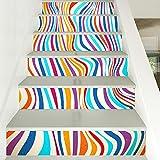 JUN Wandsticker Dekorative Treppenaufkleber des Farbstreifens Kreative Haupttreppenaufkleberkorridor-Treppen