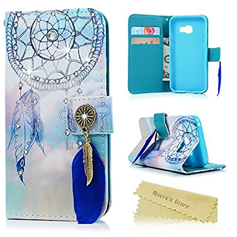 Mavis's Diary Samsung Galaxy A3 Case (2017 Model), Galaxy A3 2017 Case - Luxury Diamonds Feather Dream Wind Chimes Prints [Personalised Bling Gems Feather Magnetic Closure] PU Leather Wallet Flip Cover Blue Silicone Back Holder Card Slots & Stand & Wrist Strap (Not for 2015/2016 Model)