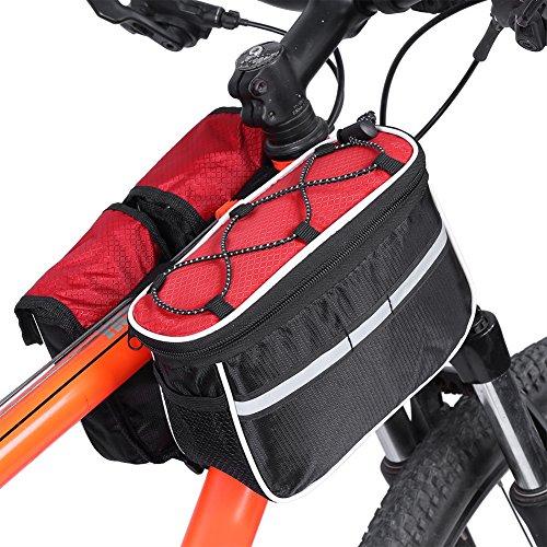 3 Farben Fahrrad-vordere Schlauch-Beutel-reflektierende Streifen-einen.Kreislauf.durchmachenfahrrad-Oberseiten-Rohr-hintere vordere Beutel Rot