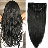 Extensions Cheveux Naturels à Clips Noir MAXI VOLUME 8 Bandes - Double Weft Clip in Remy Human Hair Extensions (25cm-110g, #01)