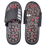 Akruti Foot Massage Slippers Health Shoe Sandal Massages Reflexology Feet Elderly Healthy Care Product Rest Pebble Stone Massager Shoes (44 45, Brown)