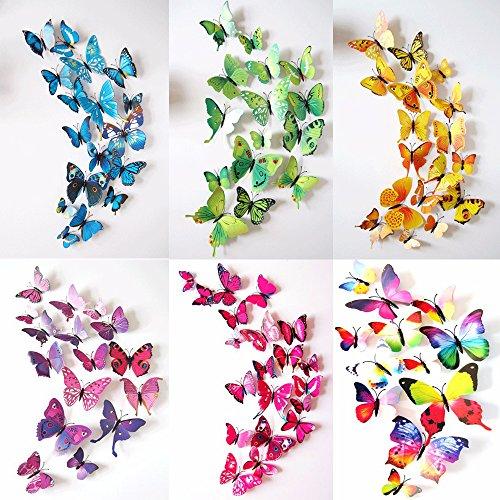 72 PCS 3D Schmetterlinge Wanddeko Aufkleber Abziehbilder für Wohnung, Schmetterling Dekorationen, Wand-Dekor