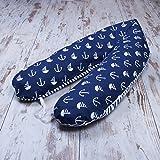 Amilian® XXL BEZUG für Stillkissen Baby Lagerungskissen Lang Seitenschläferkissen 170 cm Anker GROß