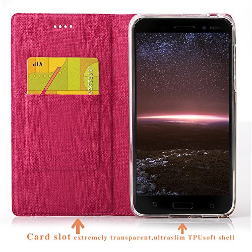 Nokia 6 Hülle,Eactcoo Dünn Premium PU Leder klappbares Folio Flip Case Book TPU Cover Bumper Tasche Mit Standfunktion Magnetverschluss Kartenfach Wallet Handyhülle Für Nokia 6 (Red) Red
