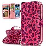 ISAKEN Galaxy S3 Hülle, PU Leder Brieftasche Ledertasche Handyhülle Tasche Case Schutzhülle Hülle Etui mit Standfunktion Karte Halter für Samsung Galaxy S3 Neo / S3 - Leopard Rosa