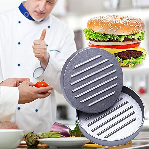 61Edm%2BS1PDL - Niviy Hamburgerpresse Set Hamburger Form Burger Maker Antihaft Patty Schimmel, Ideal für Burger, Hamburger, Patties, Presse, Beste Küche und Grillen Zubehör, Grill aus Aluminium