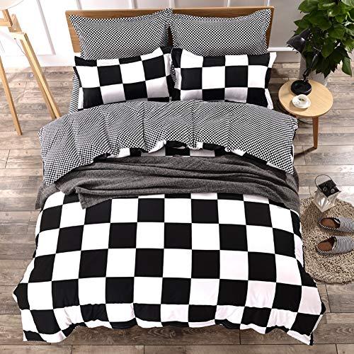 Fansu set copripiumino biancheria da letto matrimoniale, foglio e federe microfibra camera da letto 4 pezzi adatto per letto singolo matrimoniale king size (220 * 240cm,scacchi) (220 * 240cm,scacchi)