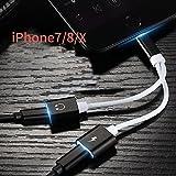 Lighting pour iPhone 8/8plus/7/7plus/X adaptateur. Lightning Câble de chargement prise casque 3,5 mm notebook iPhone 7 Accessories. iPhone Converter. ports de chargement adaptateur. iOS 10.3/11 (Silverblack) noir/blanc