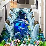 Zxdcd Benutzerdefinierte 3D Boden Mural Tapete Wasserfall Unterwasserwelt Dolphin 3D Bad Gehweg Bodenfliesen Aufkleber Dekor Pvc Wasserdichte-280X200Cm