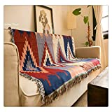 Geometrische Gobelin Sofa Überwurf Decke Jacquard gewebt Afghanen Navajo Tribal Aztec Kelim Teppiche Home Decor Bohemian Vintage Native American, 50